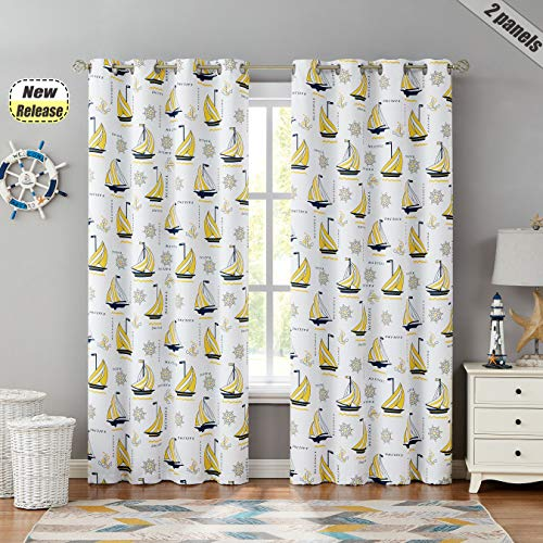 """Beauoop Nautical Bedroom Curtains 84 Inches Kid Child Blackout Curtains Juvenile Sailboat Print Light Blocking Soundproof Drapes Grommet Top Window Treatment, 2 Panels, 52"""" W x 84"""" L, Yellow/White"""