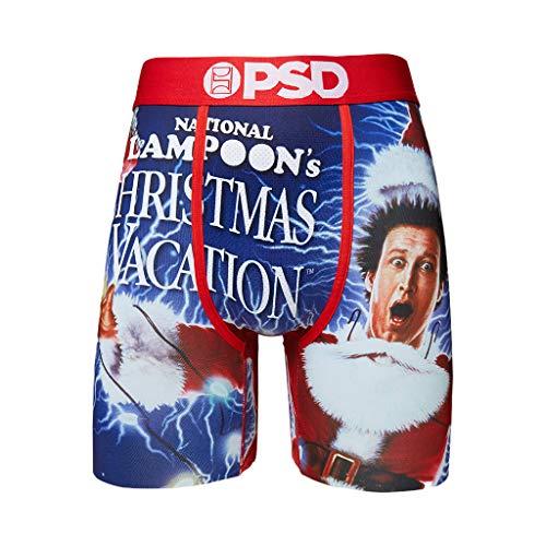 PSD Ropa interior de hombre elástica banda ancha bóxer calzoncillos - vacaciones de Navidad, Póster de película azul y navideño.,...