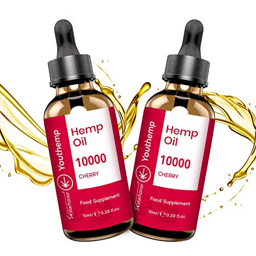 2 Pack Hemp Seed Oil with 2020 New Formula, High Strength, Vegan Friendly, Natural Source of Omega 3, 6, and 9 (Cherry)