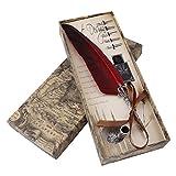Akozon Pluma de Inmersión y 5 Pluma de Inmersión Antiguo Conjunto de Caja de Regalo de Tinta Pluma de Caligrafía de Escritura Antique Feather Pen 0.5mm(Rosso)