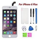 Ecran pour iPhone 6 Plus Vitre Tactile LCD Ecran Assemblé avec Kit D'Outils Complet De Réparation Blanc (5.5 Pouces)
