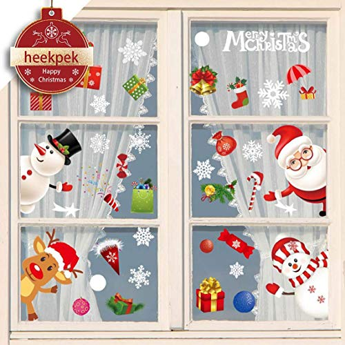 heekpek Feliz Navidad Pegatinas de Ventana Divertidos Saludos Extraíbles Decoracion Navideña Regalos para Escaparates árbol de Navidad Papá Noel Vinilos Navideños Pegatinas de Pared Reutilizable