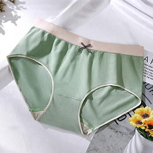 Fuduoduo Calzoncillo Tanga De AlgodóN Mujer,Bragas de Cintura Media sin Costuras de algodón para Mujer-Verde 5 Piezas,Braguitas para Mujer de Algodón Elástico
