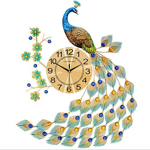 ZZWBOX Relojs Pared Reloj de Pared Creativo del Pavo Real Reloj del Metal Personalidad Silencio Reloj de Cuarzo silencioso Sala de Estar decoración Reloj electrónico