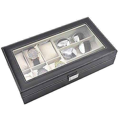 WYBFZTT-188 Jewelry Box- PU Leather Clear Lid Jewelry Storage Display Box Showcase Organizer with 3 Grids 6 for Glasses and Watches
