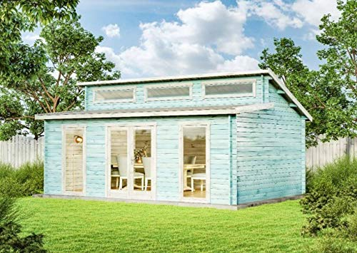 CARLSSON Alpholz Gartenhaus Narvig-40 C aus Massiv-Holz | Gerätehaus mit 40 mm Wandstärke | Garten Holzhaus inklusive Montagematerial | Geräteschuppen Größe: 598 x 420 cm | Pultdach