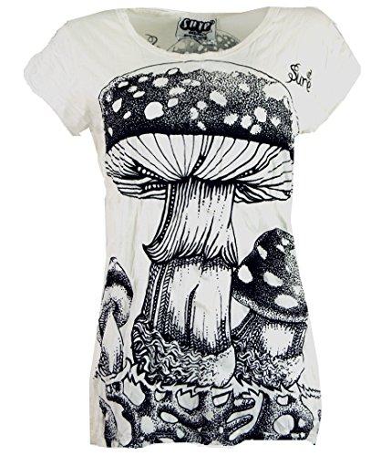 Guru-Shop Sure T-Shirt Fliegenpilz, Damen, Weiß, Baumwolle, Size:L (40), Bedrucktes Shirt Alternative Bekleidung