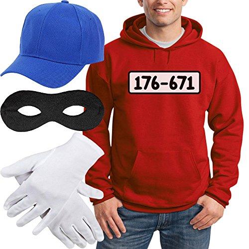 Shirtgeil Panzerknacker Banditen Kostüm Hoodie + MÜTZE + Maske + Handschuhe Kapuzenpullover Hoodie Medium Rot