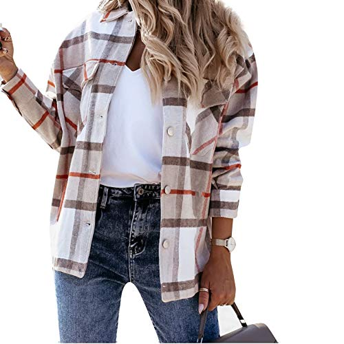 MINASAN Damen Kariertes Taschen Knöpfen Langarm Oversize Bluse Mantel Hemdjacke Holzfällerjacke Mode Boyfreind Jeansjacke (Khaki, M)