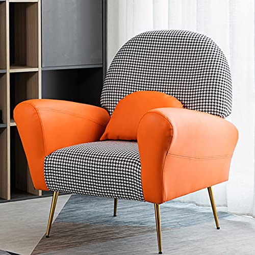 Butaca Moderna con Patas Metal Sillón Individual Estilo Nórdico Acolchado para Salón Dormitorio,Naranja