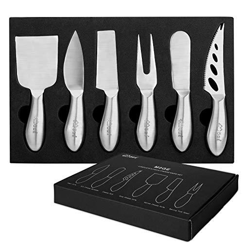 MÖGE Set di Coltelli Acciaio Inox per Formaggio - 6 Pezzi | Kit Degustazione Vino | Taglia Formaggio | Kit Coltelli per Aperitivo | per Insalata di Formaggi da Dessert | Confezione regalo