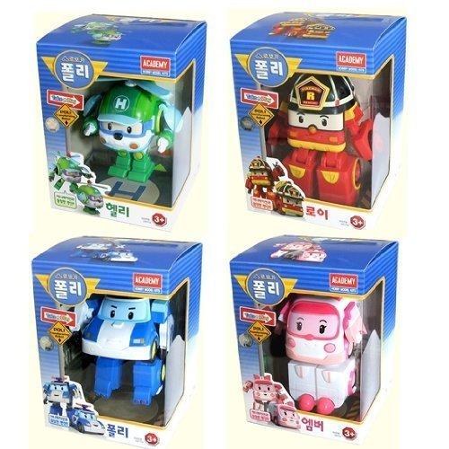 ROBOCAR POLI Poli + Helly + Amber + Roy Trasformare Robot giocattolo
