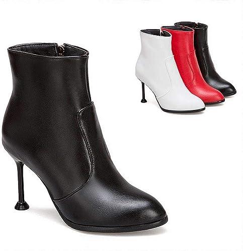 ZHRUI Stiefel para damen - Calzado de Moda de tacón Alto de Invierno Stiletto Stiefel Cortas Stiefel Martin 34-43 (Farbe   schwarz, tamaño   39)