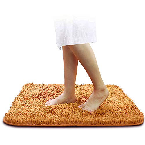 Durable Chenille Bath Rugs Mat for Bathroom, 31'X 20'Non-Slip Microfiber Bathroom Rugs with 4PCS Rug Gripper, Super Absorbent Shower Mat, Machine Washable Fast Dry Doormats(Orange)