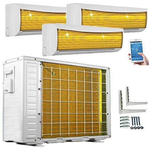 A++/A++/A++ TrioSplit WiFi/WLAN Golden-Fin 12000+12000+12000 BTU MultiSplit Klimaanlage Inverter Klimagerät Heizung