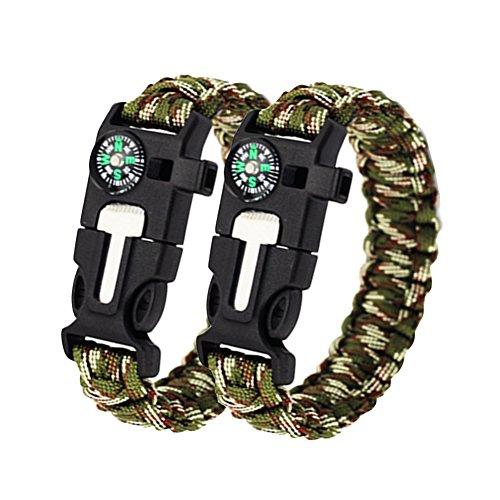 KIWISUNNY Nero Braccialetto Paracord Sopravvivenza corda con fischietto, pietra focaia raschietto avviamento di fuoco,2 pezzi