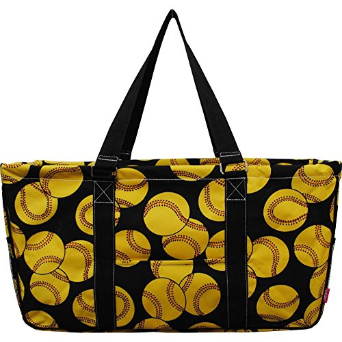 N. Gil All Purpose Open Top 23' Classic Extra Large Utility Tote Bag 2 (Softball Black)