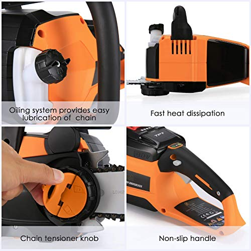 Duro 40Vmax Chainsaw with Charger and 4Ah Lithium-Ion Battery Operated Chainsaw Cordless Brushless 14 inch Orange Chain Saws for Cutting Wood Up to 150 Cuts with Chainsaws Bar Cover