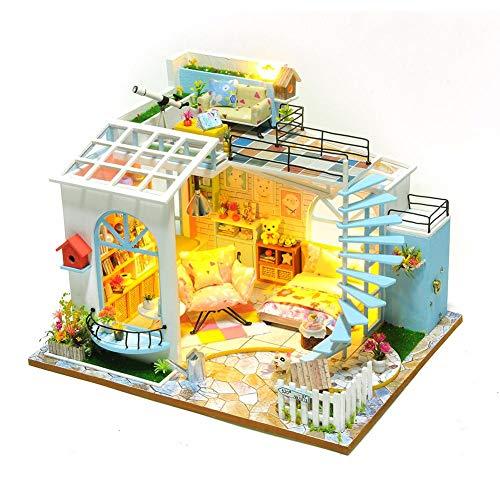 Neckip DIY Miniatur Puppenhaus Kit - 3D Holz Haus Möbel Kit - Handmade Mini Exquisite Wohnung Modell DIY Kit - Puppenhaus Spielzeug für Weihnachten Geburtstag