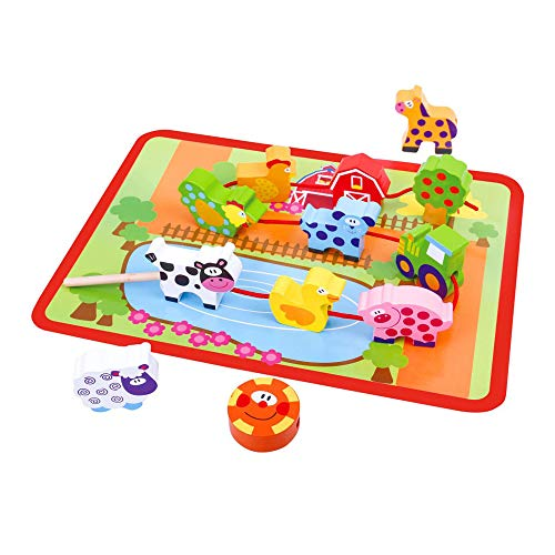 Tooky Toy Fädelspiel aus Holz Bauernhof mit Tierchen, Trecker, Bauernhaus und mehr - farbiges Spielfeld zum Lernen und Motorik Schulung Ihres Kindes - ca. 29 x 21,5 x 1,6 cm