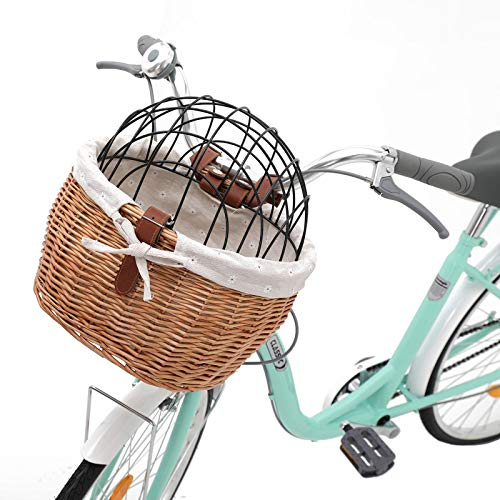 Wicker Front Handlebar Bike Basket, Small Pet Dogs Cat Carrier Bicycles Basket with Leather Straps and Iron Cover