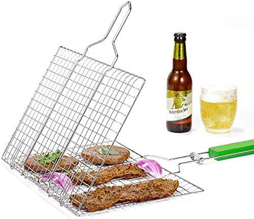 Wzmdd Grillmand, draagbaar opvouwen 430 roestvrij staal met Flip houten handvat, roosters voor BBQ, groente, biefstuk, garnalen, barbecue, hamburger, worst, voedsel vlees - 57 X 35.5 X 2.5CM