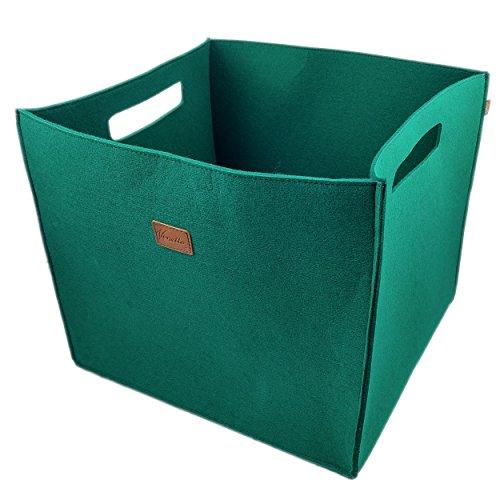 3-er Set Box Filzbox Aufbewahrungskiste Aufbewahrungsbox Kiste für Allelei aus Filz, Korb, Kiste, Boxen, Aufbewahrung für Ikea Regal, Kofferraum, Kellerregal, 3 Stück (Grün dunkel)