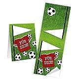 25 kleine braune Geschenktüten Papiertüten Geburtstagstüten 13 x 18 + 2 cm Lasche + mit Aufkleber Fußball FÜR DICH perfekt für die Fußball-Party und jeden Fußball-Fan Verpackung Kinder - 3