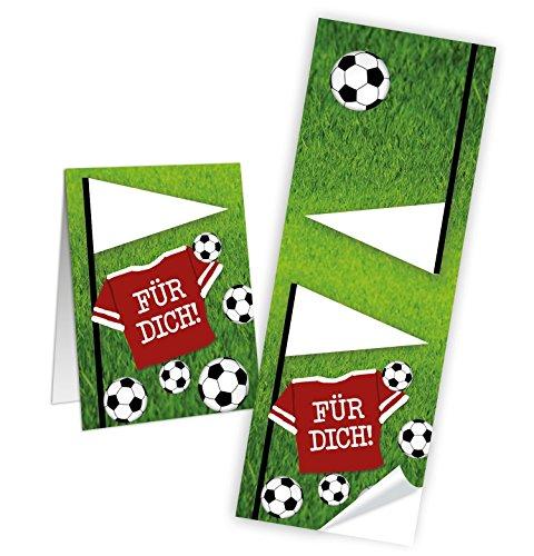 10 Stück Fussball-Aufkleber Sticker WM grün weiß schwarz FÜR DICH Fußballsticker 5 x 14,8 cm für Papiertüten Mitgebsel give-away Tüten zukleben Namensschilder Tischdeko