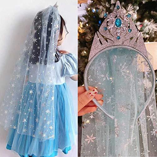 Unicra Diadema de corona azul para bebé niñas princesa diadema con velo lindo arco tocado pieza de pelo diario cumpleaños accesorios para el pelo para niñas (corona)
