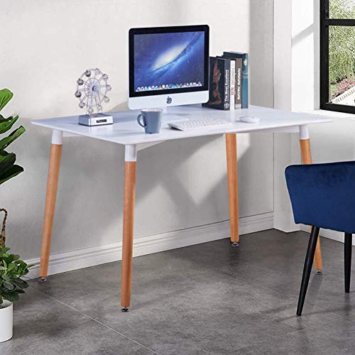 GOLDFAN Nowoczesny stół na biurko komputerowe na stanowisku pracy biuro dom akcesorium nauka biurko do pisania 120 x 70 x 75 cm, biały (tylko stoł)