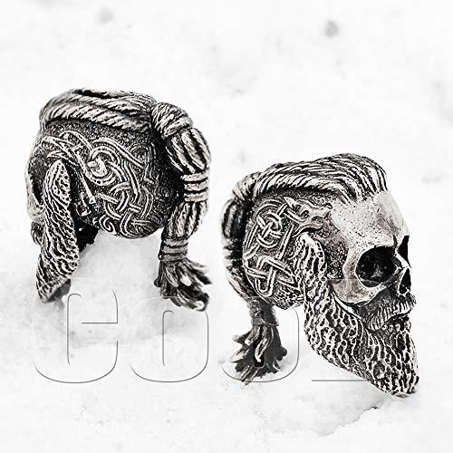 CooB EDC Paracord Bead Beads, Charm, Beard Bead Ragnar Lothbrok Skull. Metal Hand Made Paracord Lanyard Beads Charms for Knife Lanyard Accessories, Beard Beads 1Pcs/Lot (Ragnar Skull)