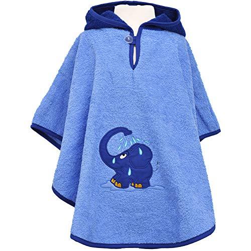 Smithy, hoogwaardige badstof - badkamer - poncho van 100% katoen, kleur blauw, motief blauwe olifant, afmetingen ca. 1 tot 3 jaar.