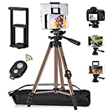 Tripod for iPad iPhone Camera Tablet ,TESVERO 50-inch Aluminum Alloy Tripod [2021 Upgrade] + Wireless Remote + 2 in 1 Mount Holder for Smartphone (Width 2.2-3.3'),Tablet (Width 4.3-7.3')