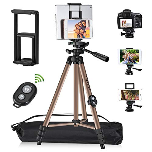 """Tripod for iPad iPhone Camera Tablet ,TESVERO 50-inch Aluminum Alloy Tripod + Wireless Remote + 2 in 1 Mount Holder for Smartphone (Width 2.2-3.3""""),Tablet (Width 4.3-7.3"""")"""