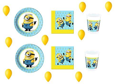 CDC – Kit N ° 13 Fête et Party – Moi Moche Et Mechant Minions (40 assiettes, verres, 40 serviettes, 100 ballons)