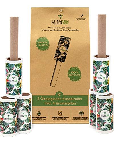 Heldengrün® Öko Fusselrolle 6er-Set [PLASTIKFREI] - Starker Öko-Klebstoff - Fusselbürste aus 100% recyceltem Karton - Nachhaltige Produkte: langlebiger Fusselentferner - Zero Waste Tierhaarentferner