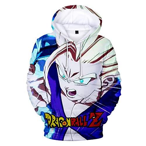 FJLOVE Jungen Herren Kapuzenpullover 3D Japanischer Anime Druck Dragonball Pullover Langarm Kakarotto Super Son Goku Cosplay Hoodie Kapuzen Trainingsanzüge,L