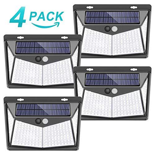 Luz solar exterior, 【208 LED / 3 Modos】SEZAC Luces de seguridad solar Luces de sensor de movimiento solar Impermeable 65 Luces al aire libre para jardín Cerca de garaje (paquete de 4)