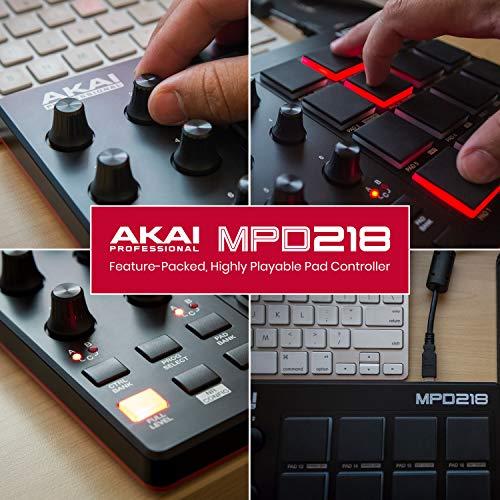 AKAI Professional MPD 218 - Controlador MIDI USB portátil con 16 pads MPC y potenciómetros para DAW, software Ableton Live Lite, Big Bang Cinematic Percussion y Universal Drums