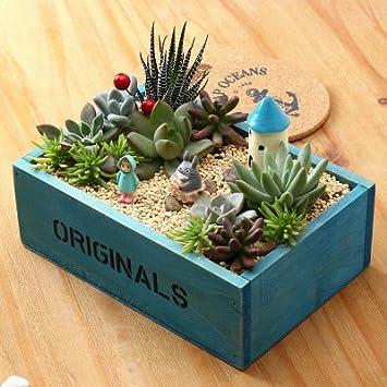 e-meoly de madera caja de ventana de jardín rústico rectangular macetero, de flores suculentas maceta contenedor caja,, 2 unidades: Amazon.es: Hogar