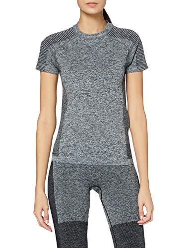 Marchio Amazon - AURIQUE T-shirt Sportiva Senza Cuciture Donna, Grigio (Grey Marl), 46, Label:L