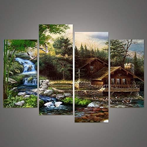 Lona Marco de la pintura Art House Impreso lona impresiones modular de pared Imagen 4 piezas/Set paisaje de la cascada de la boda decoración del hogar (Size : 40x80x2 40x100cmx2)
