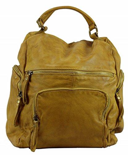 BZNA Bag Stella gelb Backpacker Designer Rucksack Damenhandtasche Schultertasche Leder Nappa sheep ItalyNeu