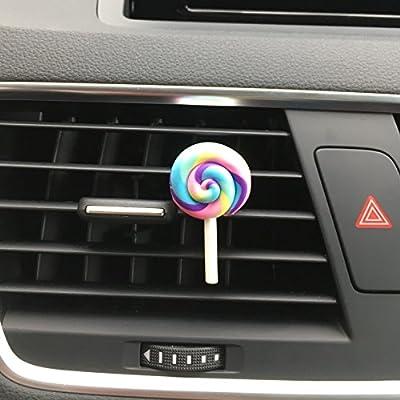 Huertuer Cute Rainbow Lollipop Prise d'air parfumé Diffuseur de Parfum Désodorisant Clip