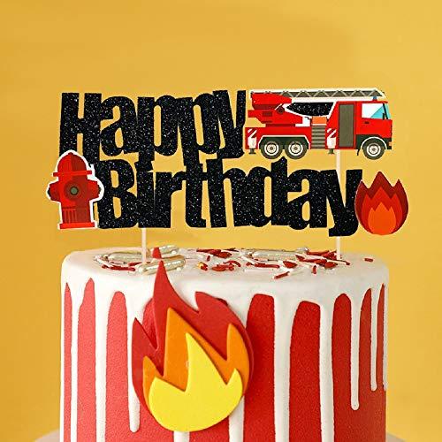 JeVenis Feuerwehrmann Geburtstagstorte Dekoration Feuerwehrauto Geburtstagstorte Dekoration Feuerwehrmann Geburtstagsfeier Dekoration