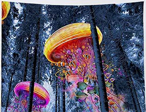 Amiiba Bunte Quallen Wandteppich Winterwald Wandteppich Wandbehang Psychedelic Hippie Heimdekoration für Schlafzimmer Wohnzimmer Qualle M – 149,9 x 129,5 cm