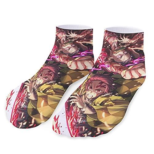 Anime Demon Slayer - Calcetines deportivos para hombre y mujer (microfibra, transpirables, suaves y cómodos)