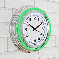 Lavish Home Retro Neon Wall Clock - Battery Operated Wall Clock Vintage Bar Garage Kitchen Game Room – 14 Inch Round Analog (Green and White)