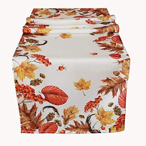 Kamaca Serie Herbst IMPRESSIONEN hochwertiges Druck-Motiv mit Herbstlaub EIN Schmuckstück in Herbst Winter (40x140 cm Tischläufer)